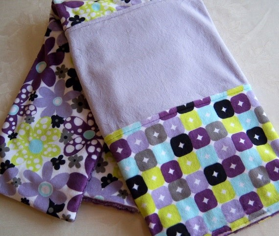 Lavender, Purple, Lime Green, Gray, Aqua, Black And White Minky Baby Blanket
