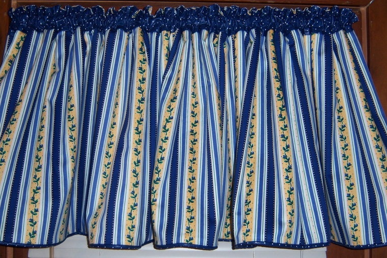 Blue And Yellow Curtains Prints Blue Floral Kitchen Curtains