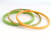 Wrapped Tangerine Tango & Lime Bangle Bracelet Set of 3