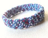 Ribbon Wrapped Bangle Bracelet with Blue Patterned Ribbon