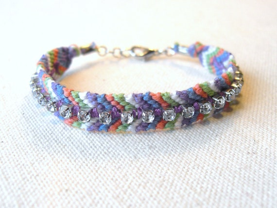 Friendship Bracelet - Chevron Embellished w/ Rhinestones - Multicolored