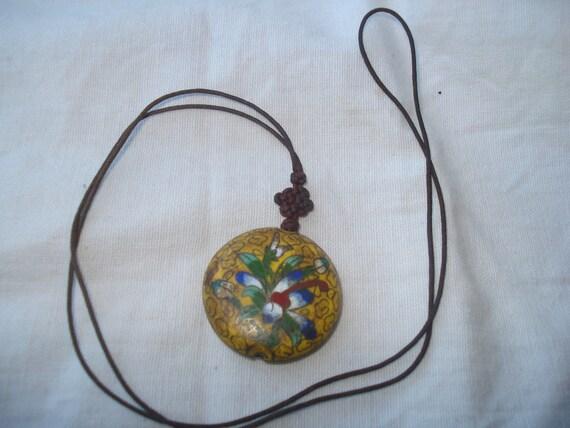 Yellow Enamel Flower Necklace