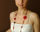 Red Flower - Long Necklace/Bracelet-crocheted beads & flower - Free Shipping