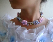 Childrens necklace  - Crocheted Pink and Blue flowers- pearls, Czech crystal- Free shipping