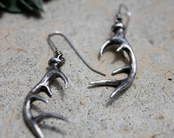 sterling silver wild deer antler earrings