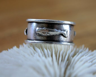 Sterling Silver Whale Band Ring for Guys
