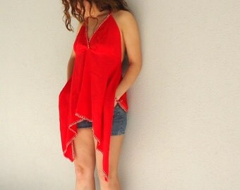 Open Back Blouse, Red Shirt,Oversized coverup.