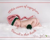 ON SALE Christmas  Knit Baby Hat - Pixie Red, White, Green - Or Any Colors, Size  - New Baby Gift or Photo Prop