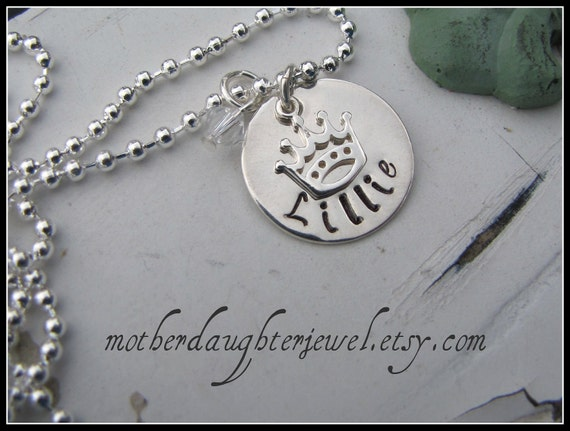 Personalized Necklace - Hand Stamped Mommy Jewelry - Princess Crown Hand Stamped Necklace with Swarvoski Birthstone