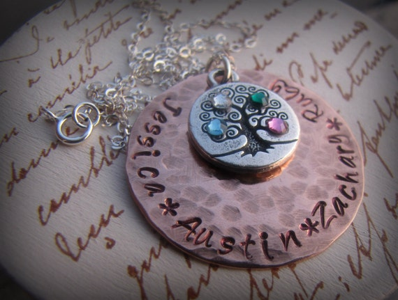Hand Stamped Personalized Family Tree Necklace - Birthstone Necklace - Hand Stamped Jewelry - Hand Stamped Necklace - Mother's Day Gift