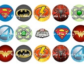 Super Hero Inspired One Inch Bottle Cap Images