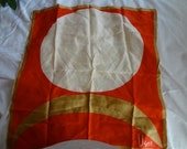 Vintage 1960s Vera Neuman Square Scarf, Colorful Red, White and Gold - REDUCED