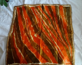 Vintage 1960s Vera Neuman Square Scarf in Tones of Orange and Brown - REDUCED