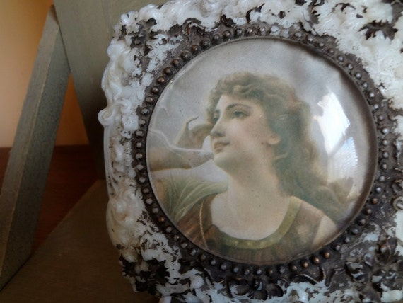 Gorgeous Victorian Milk Glass Powder or Collar Box Lid with Beautiful Girl Under Glass - REDUCED