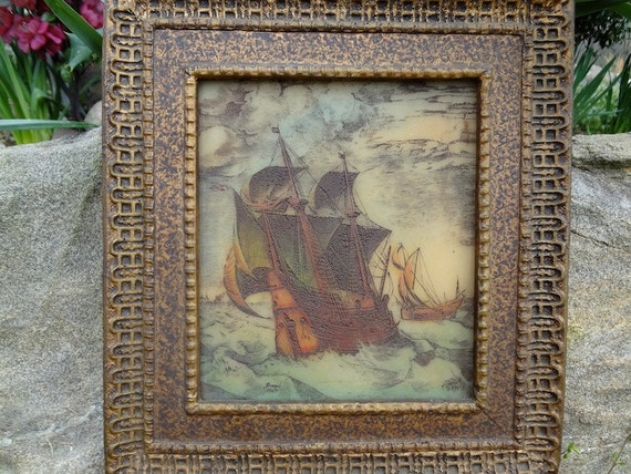 """Gorgeous Artini Color Engraving On Tile of """"A Dutch Hulk and a Boeir"""" by Pieter Bruegel the Elder in Original Artini Frame REDUCED"""