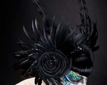 Feather, Beaded Headpiece with Swarovski Crystals.