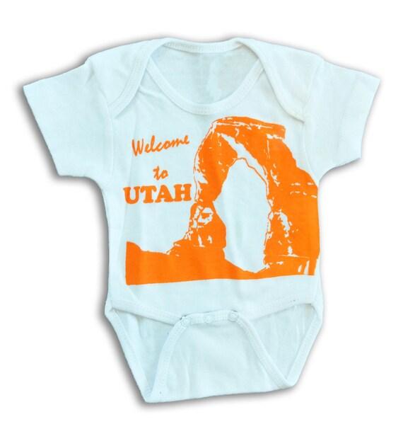 Welcome to Utah Arches Souvenir Onesie, Toddler Lap Tee, Orange on White Screen Print, 6-12 m