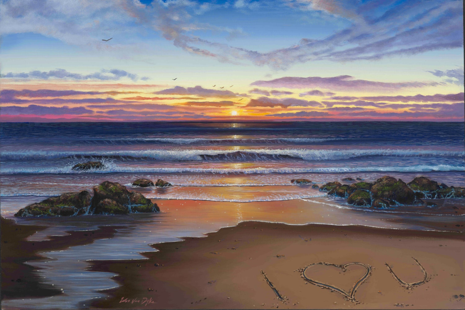 Ocean Sunset Beach Oil Painting by WesVanDykeART on Etsy