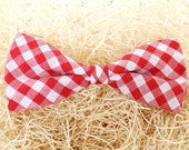 Handmade Red Gingham Clip On Bow Tie