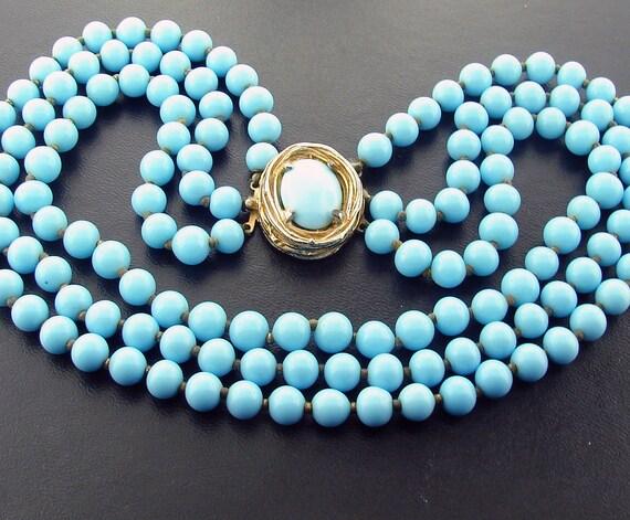 Vintage DeNicola Robins Egg Blue Glass Necklace