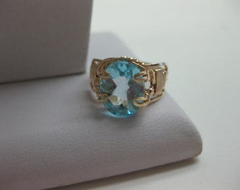 Blue Topaz Gold Ring - FREE SHIPPING
