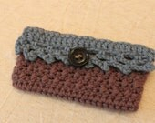 FREE U.S. SHIPPING Crochet Blue and Brown Wallet with Button
