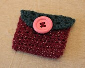 FREE U.S. SHIPPING Blue and Sparkly Maroon Crochet Mini Wallet with Button