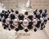 Tutorial PDF Right Angle Weave Swarovski Pearl Braided Cuff Bangle Bracelet, Instant Download
