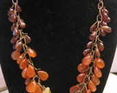 Hessonite, Carnelian and Yellow Opal Necklace