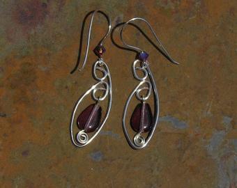 Silver wire wrapped spiral V purple teardrop earrings