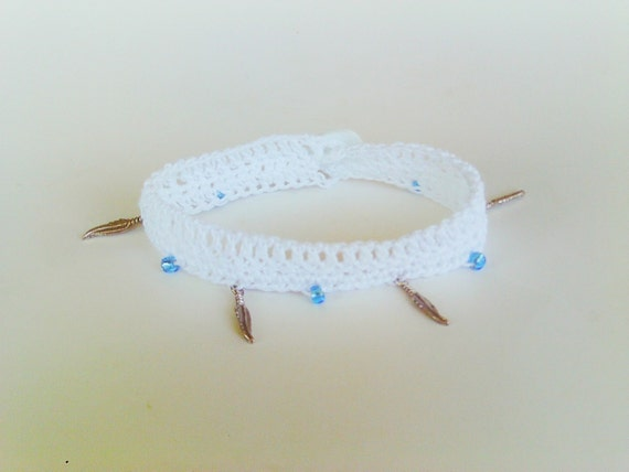 Crochet Anklet in White Ankle Bracelet Hippie Boho Native American Summer