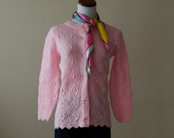 1950s Cardigan Sweater Pink / 50s Sweater  // Cotton Candy Girl
