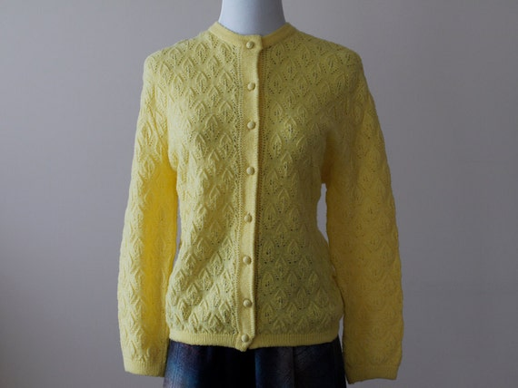 1950s Yellow Cardigan / 50s Knit Sweater // Sunshiny Day