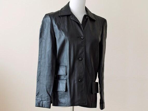 1960s Black Leather Jacket / 60s Motorcycle Jacket // The Brat Pack