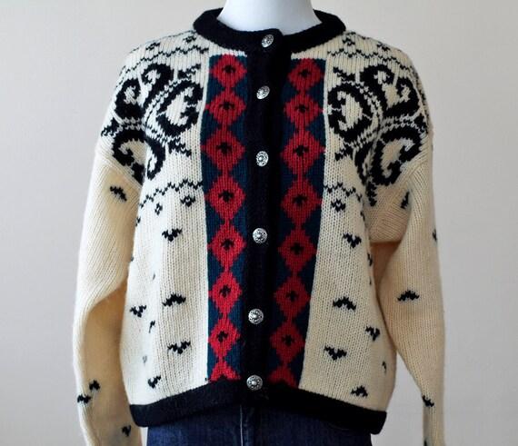 SALE 1980s Nordic Cardigan / 80s Alpine Sweater // The Hearthside