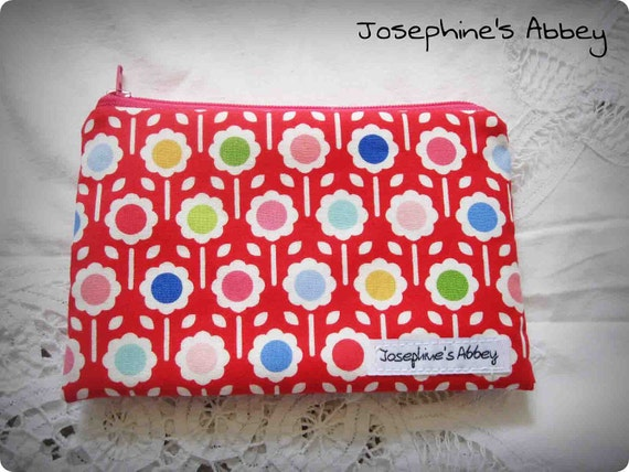 FREE SHIPPING--Chic Scandinavian Red Flower Coin Purse, iPhone Pouch Padded from Josephine's Abbey