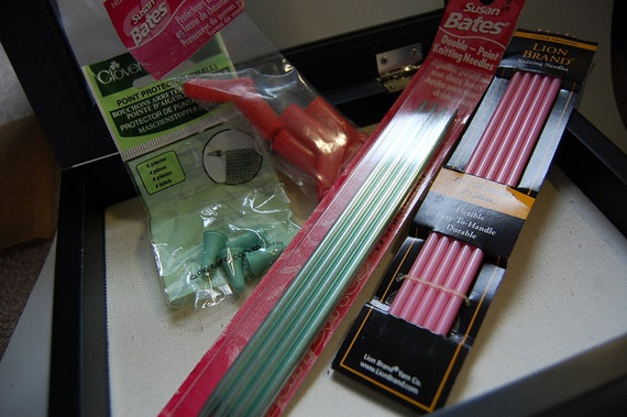 SALE Knitting needles and point protecters, pink and green and red and socks