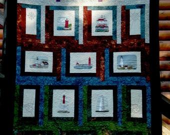 Batik Log Cabin with Embroidered Lighthouses