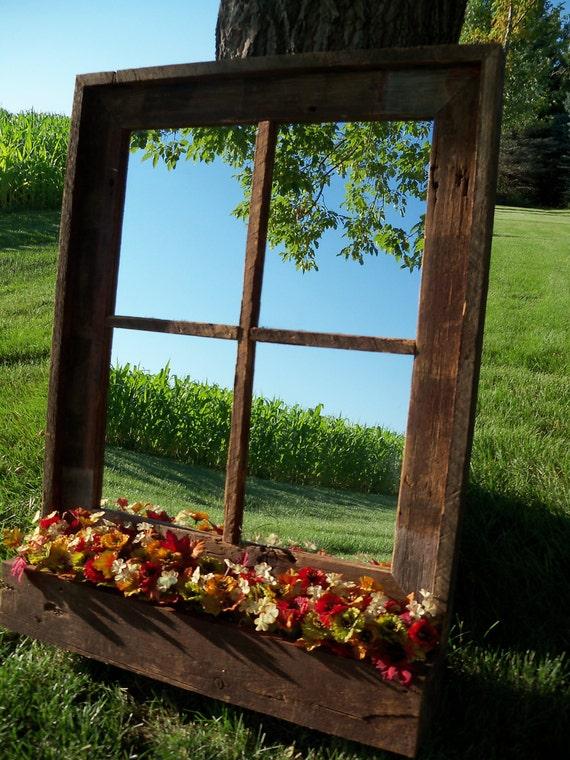 Brown Barnwood Framed Mirror with  flower box