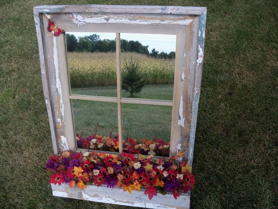 Gray Barnwood Framed Mirror with flower box or storage box - you decide how to use the box