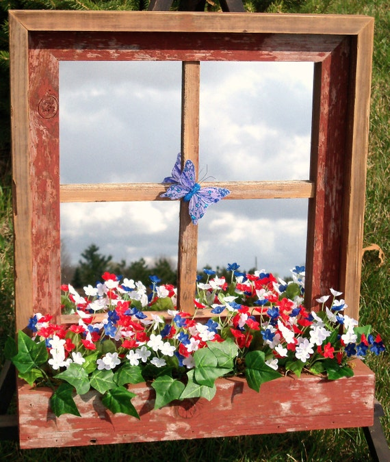 Red Barnwood Framed Mirror with red, white, and blue  flower box