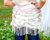 Lace Bustle Belt - white pink lace with tassels - made with recycled lace