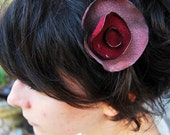 red leather flower headband - made with recycled leather