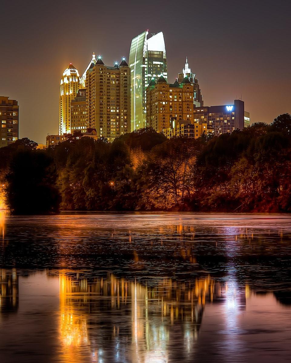 Atlanta Landscaping: Night Atlanta.Piedmont Park Lake. Landscape 8X10in Fine Art