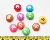 SZ0086 Set of 30 pcs Round M Candy Round Resin cabochon cabs mixed colors 14mm