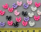 set of 35pcs Polka Dot Bow Flatback Mixed Colors Kawaii 10mm Cell phone decor, hair accessory supply, embellishment, DIY project supply