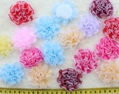 BY0030 set of 15pcs handmade Organza Fabric Rosette Flowers in mixed colors 55mm-60mm
