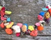 Sunrise, Sunset Howlite Gemstone Crocheted Necklace
