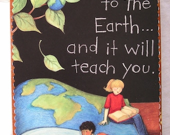 Children on Earth wooden book