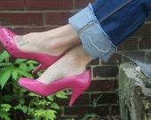 Barbie (Hot Pink Peep Toe Heels Size 7.5)